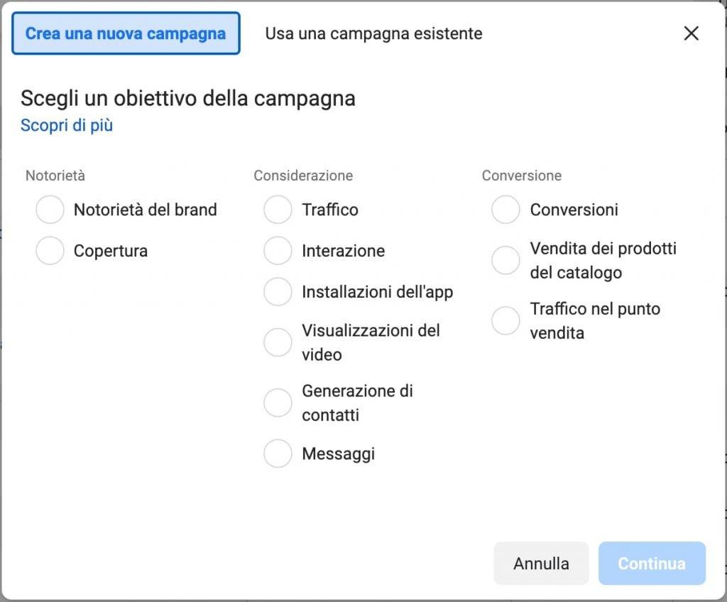 struttura campagna facebook e instagrama ads per ristoranti