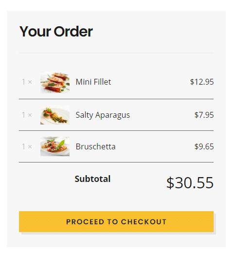 il carrello del menu gastro