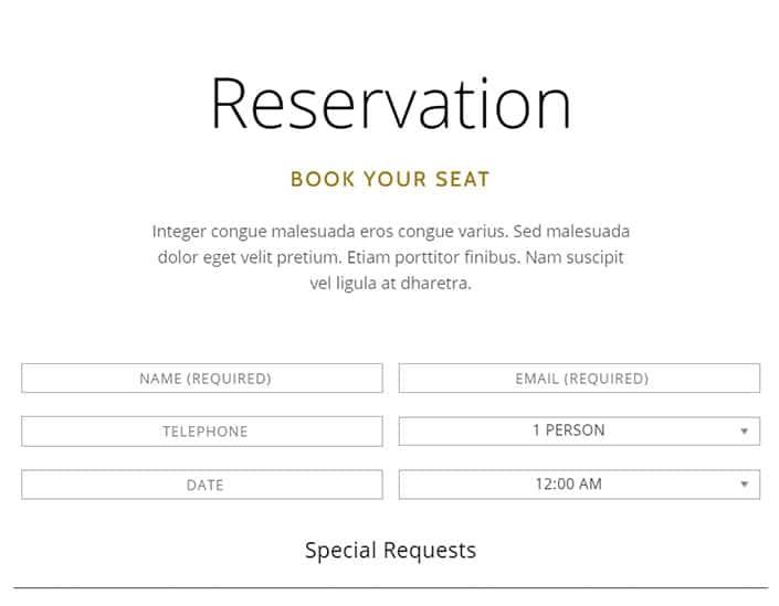 sistema di prenotazione del tema wordpress per ristoranti tamarind