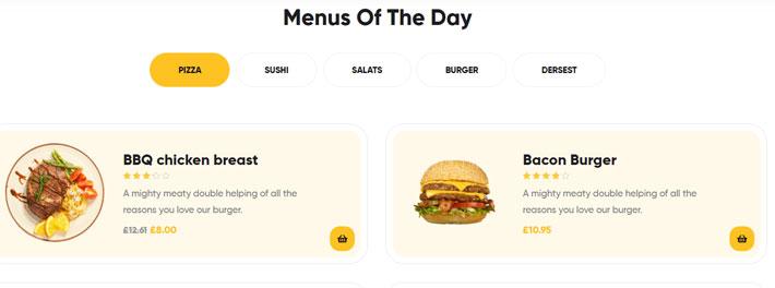 pagina menu tema wordpress per ristoranti poco