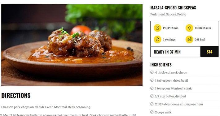 raccontare il piatto del menu