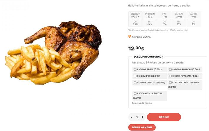 scheda prodotto cibo asporto o delivery