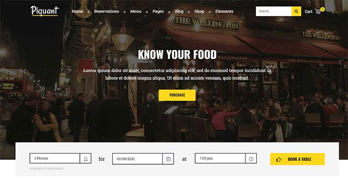tema wp per ristoranti Piquant